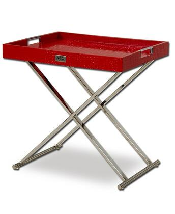 VIG Furniture VGUNAA868-50- A&X Cecilia Tray Table with X-Shaped Stainless Steel Base and Crocodile Laser Etched Design in