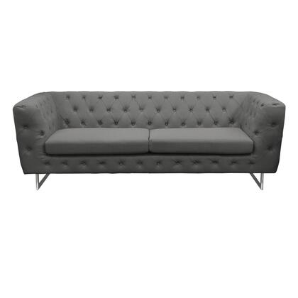 "Diamond Sofa Catalina CATALINASO 86"" Sofa with Button Tufting, Chrome Metal Leg and Rolled Arms in"
