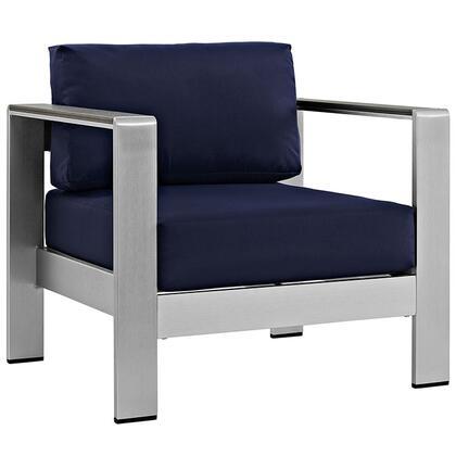 Modway EEI2266SLVNAV Shore Series  Aluminum Frame  Patio Arm Chair