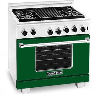 American Range ARR366FG Heritage Classic Series Natural Gas Freestanding Range with Sealed Burner Cooktop, 5.6 cu. ft. Primary Oven Capacity, in Green