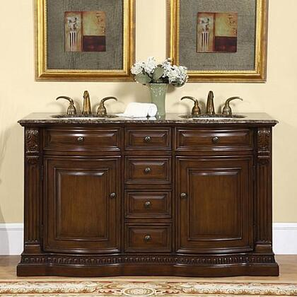 "Silkroad Exclusive HYP-0712-UIC-60 Somerset 60"" Double Sink Vanity Cabinet in a Rich Dark Walnut Finish with Travertine or Baltic Brown Granite Top & Undermount Ivory Ceramic Sinks with Pre-drilled 6 Holes"