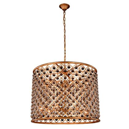 """Elegant Lighting Madison 1204D """" Pendant Lamp with E12 Light Bulbs and Royal Cut Clear Crystal Trim in Golden Iron Finish"""