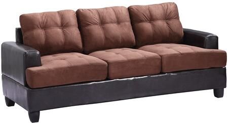 """Glory Furniture 79"""" Sofa with Tufted Cushions, Removable Backs, Track Arms, Suede and PU Leather Upholstery in"""