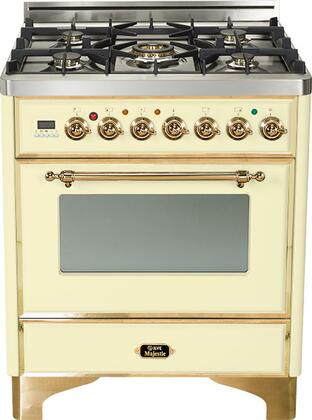 """Ilve UM76DMP 30"""" Majestic Series Freestanding Dual Fuel Range with 5 Sealed Burners, 3.0 cu. ft. Primary Oven Capacity, Convection Oven, and Warming Drawer, in"""