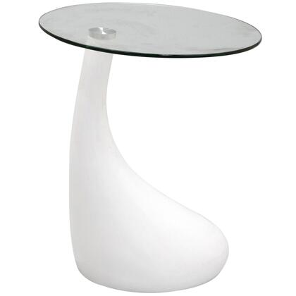 Modway EEI564WHI Teardrop Series Modern Round 0 Drawers End Table