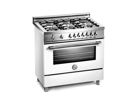 Bertazzoni X366GGVBILP Professional Series Gas Freestanding Range with Sealed Burner Cooktop, 3.6 cu. ft. Primary Oven Capacity, Storage in White