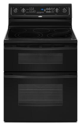 """Whirlpool GGE390LXB 30"""" Gold Series Electric Freestanding Range with Smoothtop Cooktop, 4.2 cu. ft. Primary Oven Capacity, Oven in Black"""