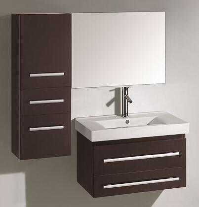 "Virtu USA Antonio UM-3081- 29"" Single Sink Bathroom Vanity with Ceramic Countertop, Matching Mirror, Wall Cabinet, PS-103 Faucet,2 Doweled Drawers and Brushed Nickel Hardware in X"