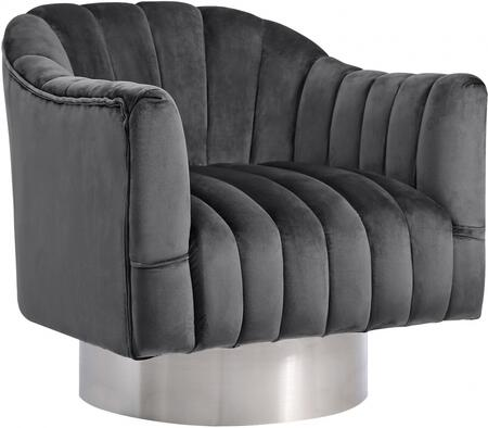 Meridian Farrah Collection 519-X Accent Chair with Velvet, Chrome Swivel Base and Contemporary Design