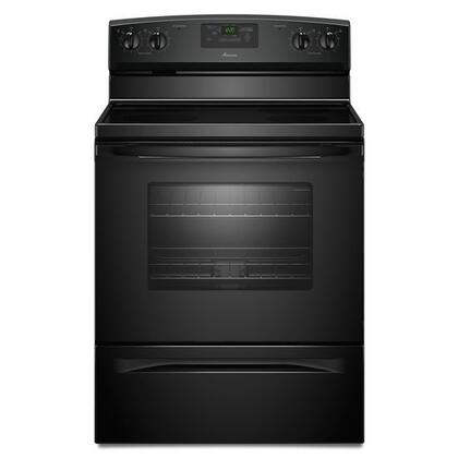 "Amana AER5330BAB 30""  Black Electric Freestanding Range with Smoothtop Cooktop, 4.8 cu. ft. Primary Oven Capacity, Storage"