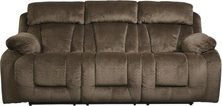 "Milo Italia MI-3941ETMP Landen 88"" Reclining Sofa with Piped Stitching, Metal Frame and Fabric Upholstery in Color"