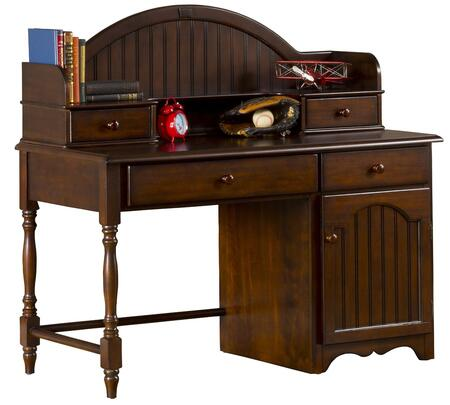 "Hillsdale Furniture 1113DH Westfield 53.25"" Desk and Hutch with 4 Drawers, 1 Door, Bead Board Details, Carved Apron and Sculpted Feet in"