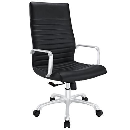 Modway EEI-1061 Finesse Highback Office Chair with Modern Style, Ribbed Vinyl Design, Five Dual-wheeled Casters, Polished Aluminum Arms, Padded High Back, and 360 Degree Swivel
