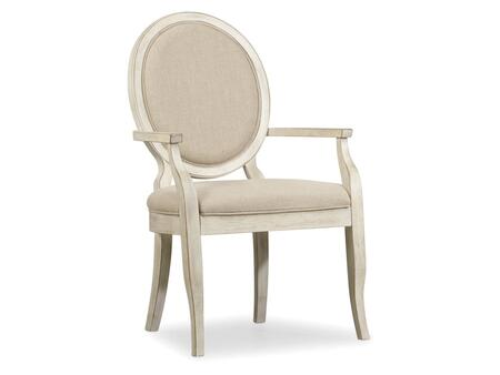 """Hooker Furniture Sunset Point Series 5325-754 40"""" Casual-Style Dining Room Upholstered Chair with Tapered Legs, Distressed Detailing and Fabric Upholstery in Hatteras White"""