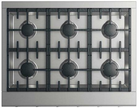 "DCS CPV2-366 36"" Professional Cooktop with 6 Sealed Dual Flow Burners, Continuous Surface Grates, Halo-Illuminated Dials, and Easy to Clean: Stainless Steel"
