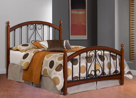 Hillsdale Furniture 1258B Burton Way Poster Bed Set with Elongated Oval Finials, Rails Not Included, Wood and Tubular Steel Construction in Black Powder Coat and Cherry Finish