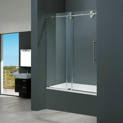 "Vigo VG6041XXCL6066 60"" Frameless Tub Door 3/8"" Clear Glass with X Hardware"