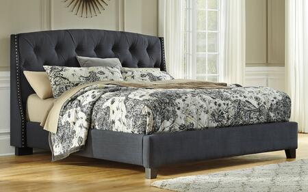 Milo Italia BR-6835BED Shannon Size Upholstered Bed with Hand Pleated Button Tufted Headboard and Nail Trimmed Tapered Wings Framing in Dark Grey Finish