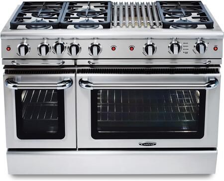 "Capital GSCR486BL 48"" Gas Freestanding Range with Sealed Burner Cooktop, 4.6 cu. ft. Primary Oven Capacity, in Stainless Steel"