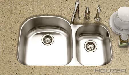 "Houzer MC-3210SX Medallion Designer 32.5"" Undermount Stainless Steel Double Bowl Kitchen Sink: Satin Finish"