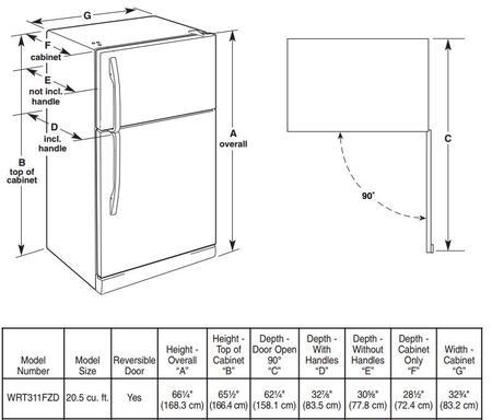 Whirlpool Wrt311fzdw 33 Inch Top Freezer Refrigerator In