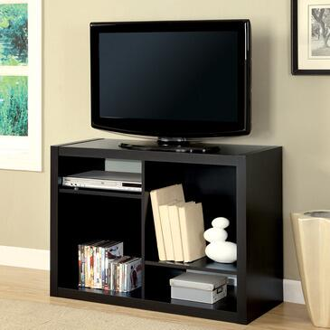 Monarch I 251 TV Stand/Bookcase, with Open Asymmetrical Shelves, Thick Hollow-board Side Panels, and Finished in Deep Cappuccino