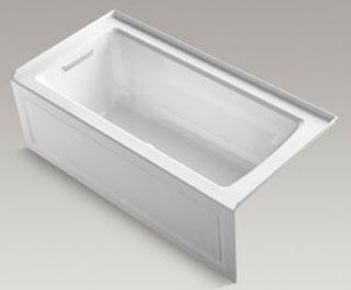 """Kohler K-1947-GLA- Archer 60"""" x 30"""" Alcove BubbleMassage  Air Bath with Integral Apron and Left-Hand Drain in"""