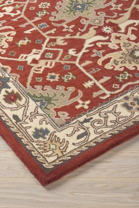 """Milo Italia Davin RG449244TM 2 """" x """" Size Rug with Kilim Design, Hand-Woven, 13mm Pile Height, Wool Material and Backed with Cotton in Brick Color"""
