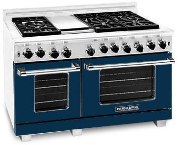 "American Range ARR4842GRDB 48"" Heritage Classic Series Dark Blue Gas Freestanding Range with Sealed Burner Cooktop, 4.8 cu. ft. Primary Oven Capacity,"