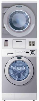 """Crossover WDSG 27"""" Energy Star Rated Stacked Washer and Gas Dryer with 3.5 cu. ft. Washer Capacity, 7.5 cu. ft. Dryer Capacity, 4 Wash Programs, 45 RPM Wash Speed, 50 RPM Tumbling Speed, 3 Soap Drawers, and Stainless Steel Lint Screen, in Grey"""