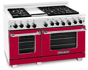 American Range ARR484GDGRBR Heritage Classic Series Natural Gas Freestanding Range with Sealed Burner Cooktop, 4.8 cu. ft. Primary Oven Capacity, in Red