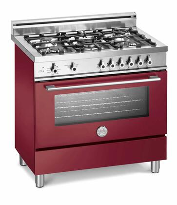 "Bertazzoni X365GGVVILP 36"" Professional Series Liquid Propane Freestanding Range with Sealed Burner Cooktop, 3.6 cu. ft. Primary Oven Capacity, Storage in Vino"