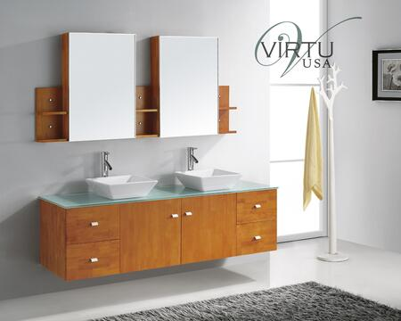 """Virtu USA Clarissa 72"""" MD-415-x-HO Double Sink Bathroom Vanity in Honey Oak Cabinet Finish with x Countertop, Mirrors, 3 Shelves with Medicine Cabinets, Faucets, 2 Doors and 4 Doweled Drawers"""