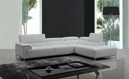 VIG Furniture VGKNK8482ECOWHT Divani Casa Citadel Series Sofa and Chaise Sofa