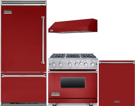 Viking 985380 4 piece Apple Red Kitchen Appliances Package