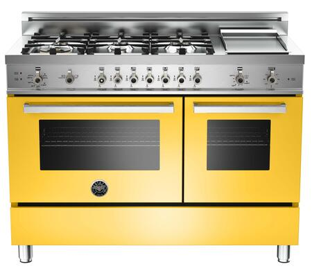 "Bertazzoni PRO486GGASGI 48"" Professional Series Gas Freestanding Range with Sealed Burner Cooktop, 3.6 cu. ft. Primary Oven Capacity, Storage in Yellow"
