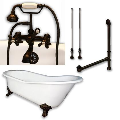 """Cambridge ST61463D2PKGXX7DH Cast Iron Slipper Clawfoot Tub 61"""" x 30"""" with 7"""" Deck Mount Faucet Drillings and Complete Plumbing Package"""
