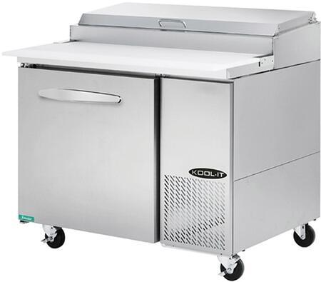 "Kool-It KPTx "" Pizza Prep Table with cu. ft. Capacity, Doors, Shelves, Pans, HP, in Stainless Steel"