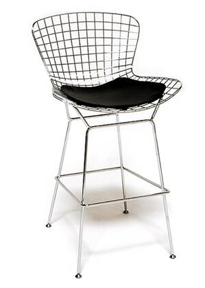 Fine Mod Imports FMI1136BLACK Wire Series Commercial/Residential Leather Upholstered Bar Stool