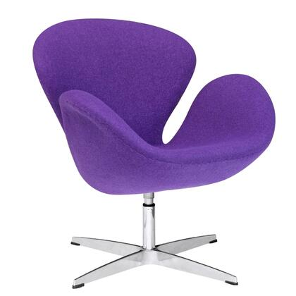 Fine Mod Imports FMI1140PURPLE Swan Series Lounge Fiber Glass Frame Accent Chair