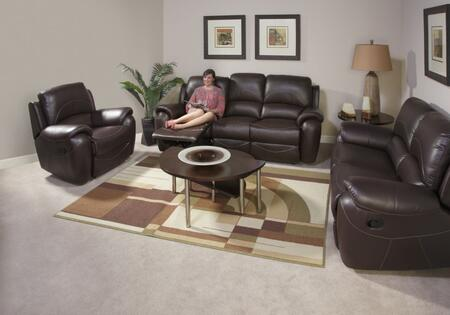 Novo Home 80051RRP Berkley Series Leather Reclining with Wood Frame in Dark Chocolate