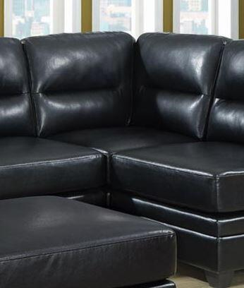 Monarch I8302BK Bonded Leather Sectional with Wood Frame in Black