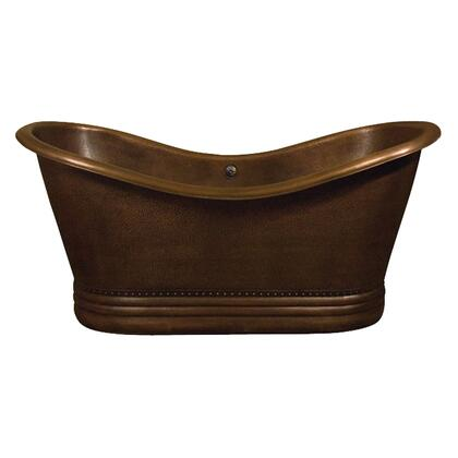 "Barclay COTDSN66P-AC X 66"" Copper Double Slipper Tub with Base and Hand Polished, in"