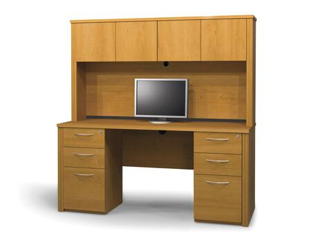 Bestar Furniture 60872 Embassy credenza and hutch kit including assembled pedestals