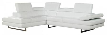 a761 italian leather sectional, left arm chaise, white 11