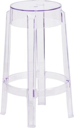 "Flash Furniture FH-118-APCX-GG "" High Transparent Barstool with Backless Design, Drain Hole and Footring"