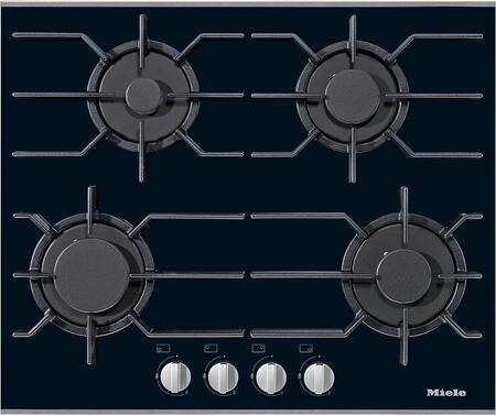 """Miele KM3010x 24"""" Gas Glass Cooktop with 4 Sealed Burners, ComfortClean Dishwasher Safe Grates, GasStop and ReStart in Black"""
