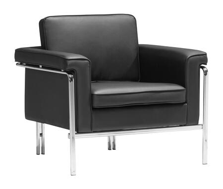 "Zuo 90016 Singular Collection 32"" Arm Chair with Chromed Base, and Leatherette Upholstery"