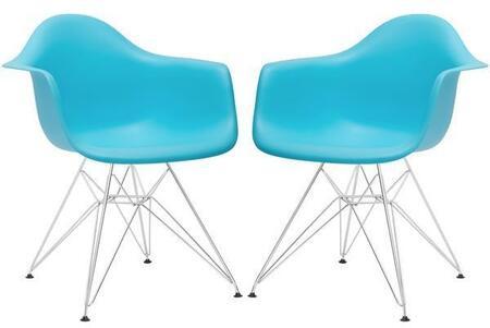 EdgeMod EM111CRMAQUX2 Padget Series Modern Metal Frame Dining Room Chair