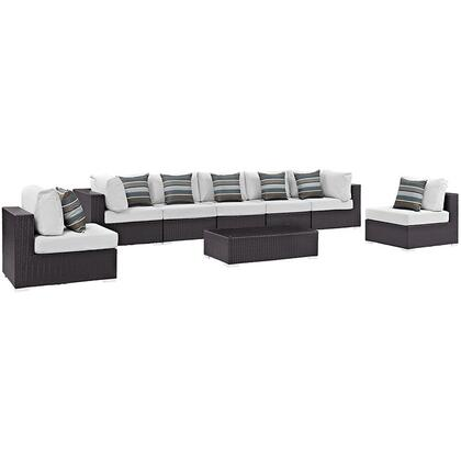 Modway Convene Collection EEI-2370- 8-Piece Outdoor Patio Sectional Set with 5 Armless Chairs, 2 Corner Sections and Coffee Table in Espresso and